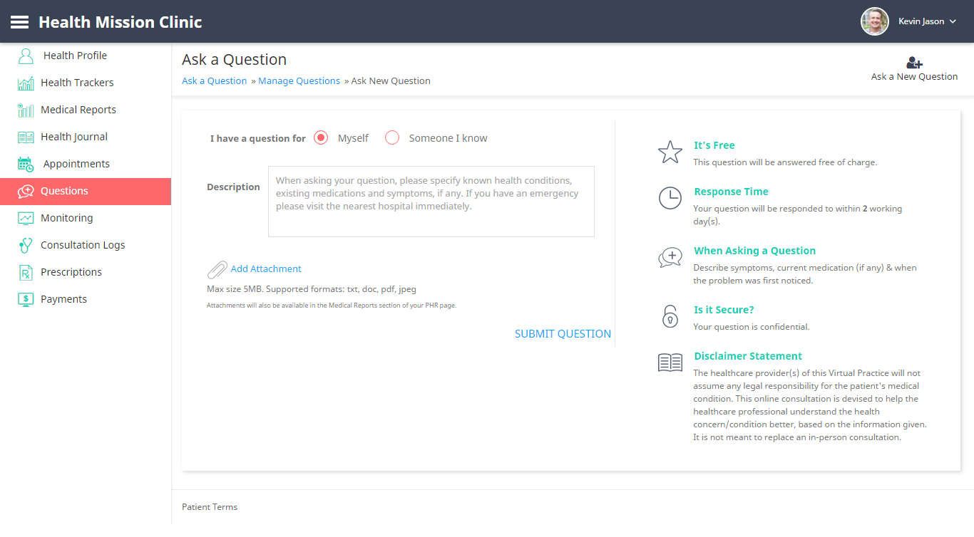 ask question web - ContinuousCare Virtual Practice - Help