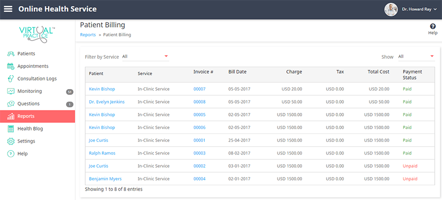 List view of billing reports